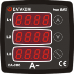 DA-0303 амперметр, 3-фазный,3 дисп. 72х72