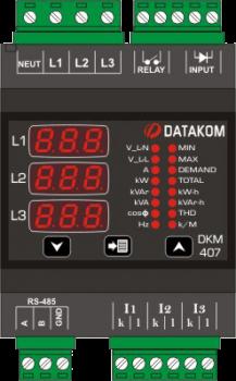 DKM-407 Анализатор сети, DIN Rail, THD, RS-485, 1-вх, 1-вых, AC