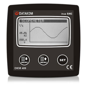 "DKM-409-T analyser, 96x96mm, 2.9"" LCD, RS485, USB/Device, 2-input, 2-output, 49 harmonics DC"